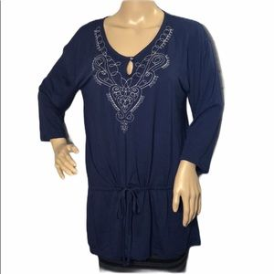 White Stag 3/4 Sleeve Tee Lacy Blue Med